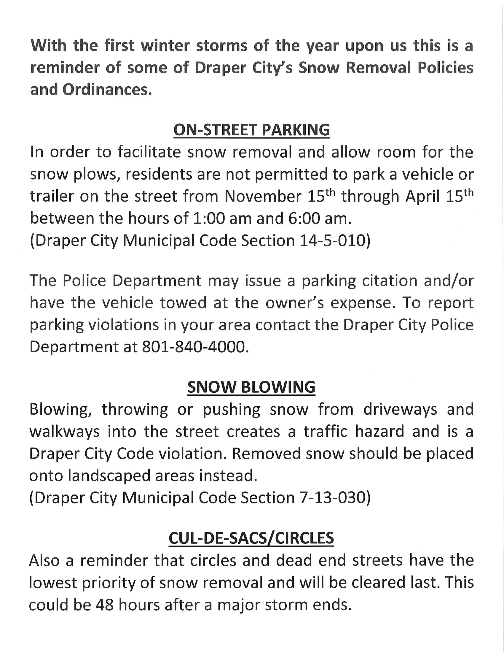 Snow Removal Policies and Ordinances