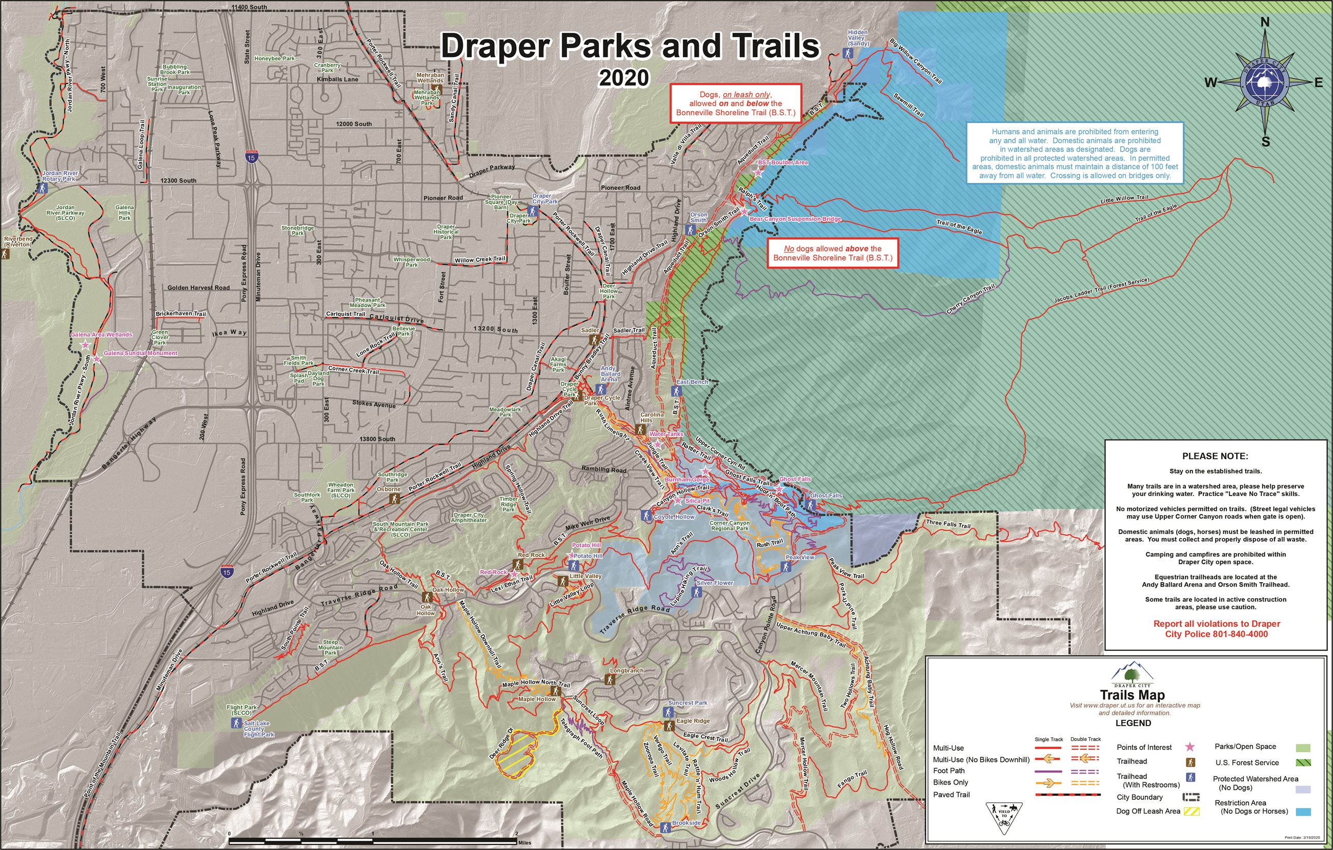 Draper Parks and Trails Map 2020